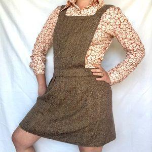 VTG 70s Tweed Apron Front Pinafore Mini Dress